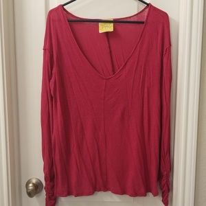 Free People pink Blouse cropped  in the back